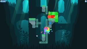 Nivå 17. Poenget er å få begge slangefuglene ned i regnbueflekken, uten å treffe piggene.