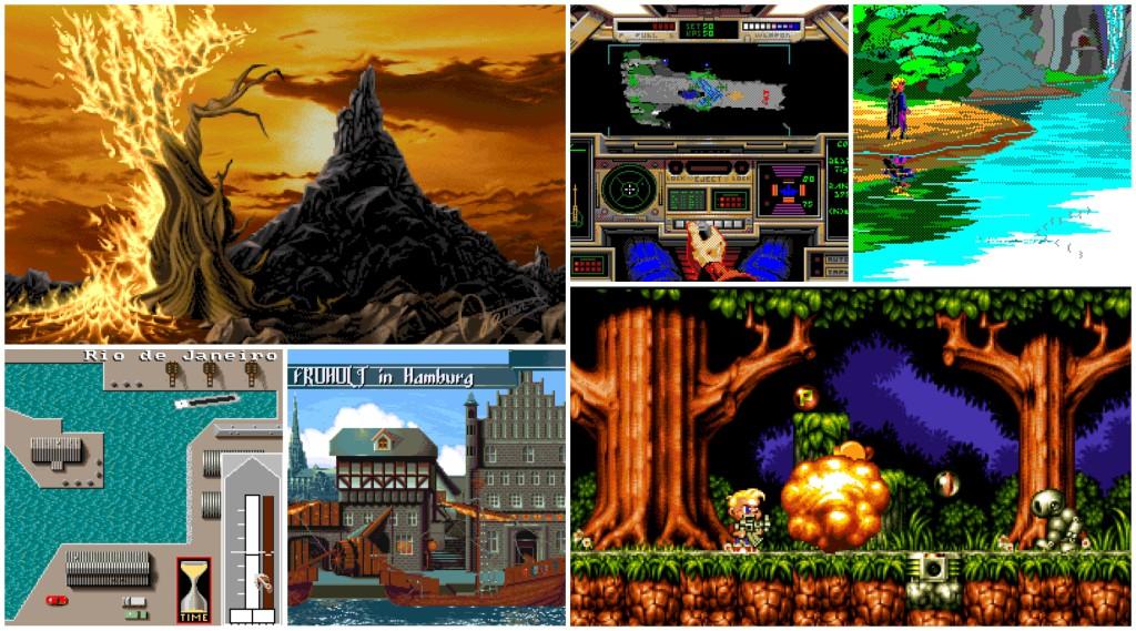 Bilde av følgende spill: Operation Forest Fire, Flight Simulator: Space Edition,  EGA Beach Party, Speedboat Challenge, Backpacker: Medieval, Mario Got A Gun.