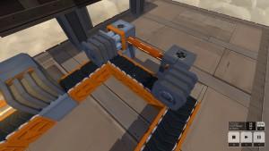 Et veldig enkelt eksempel på bruk av en sensor. Her vil annehver blokk bli dyttet ut i et alternativt spor. Jeg vet hvor blokk nr. 2 befinner seg når blokk nr. 1 passerer sensoren (nærmest), og har en dytter der.