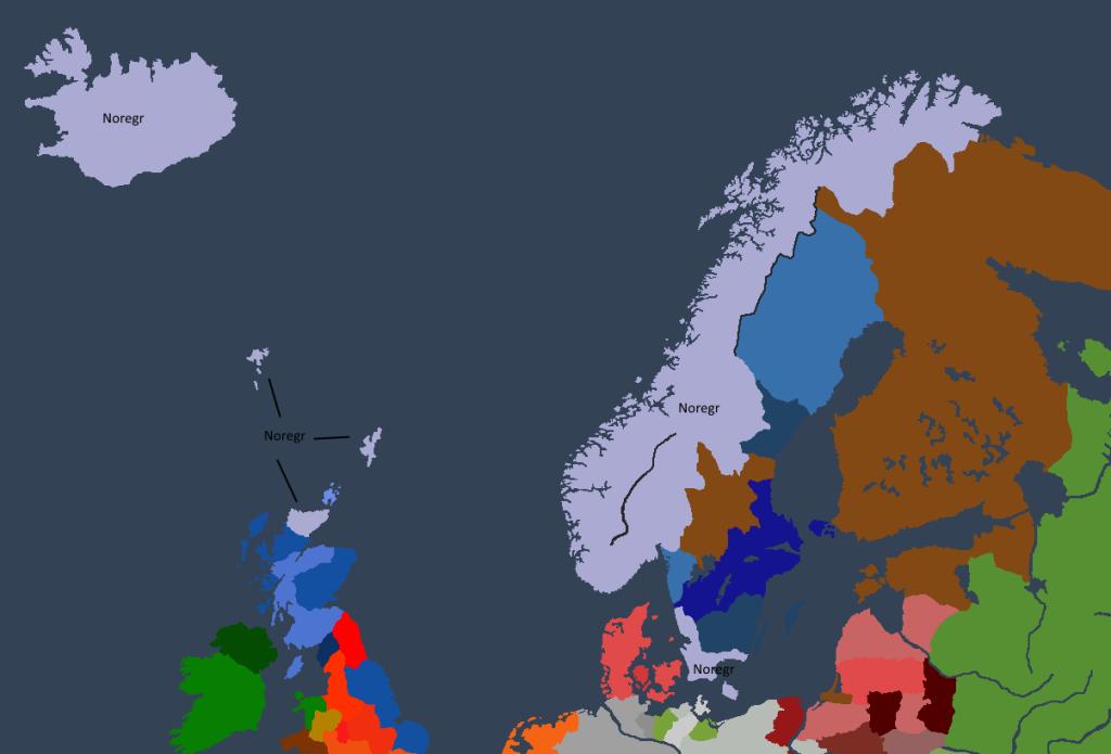Norgesveldet ved tronbestigningen til Ivar I.