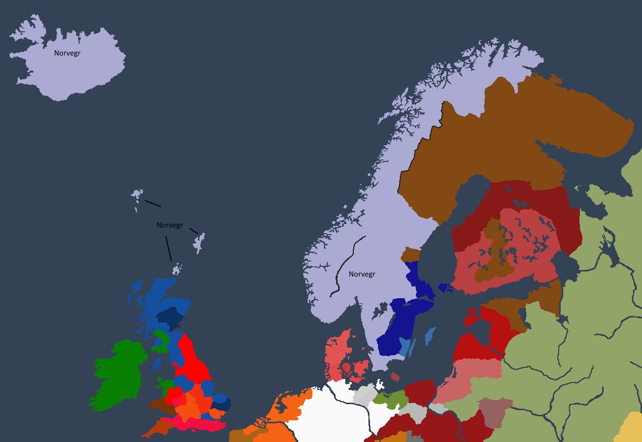 Norgesveldet ved starten av Sigurdrrs styre, svært utvidet på grunn av hans fars vellykkede regjeringstid.