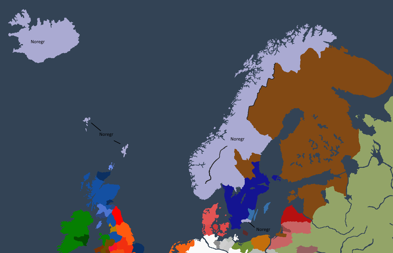 Norgesveldet ved Olafr I «Tronrøveren» sin død.