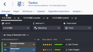 Flere taktikker i Football Manager