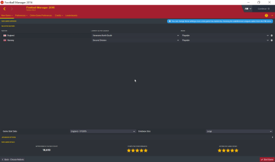 Football Manager 2016 ligaoppsett