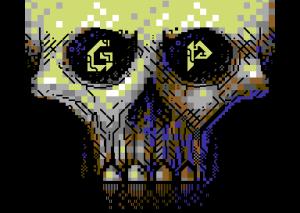 Vanja Utne er flinkere til å lage PETSCII-kunst enn det jeg er. Skjermbilde fra cracktroen PETSCII Skull (Genesis Project).