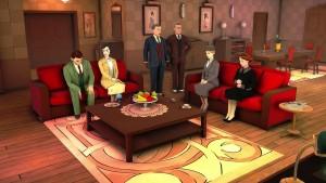 Er dette punktet der Poirot har samlet de mistenkte for å lure hver og en av dem til å tro at de er hovedmistenkt før han til slutt avslører morderen?