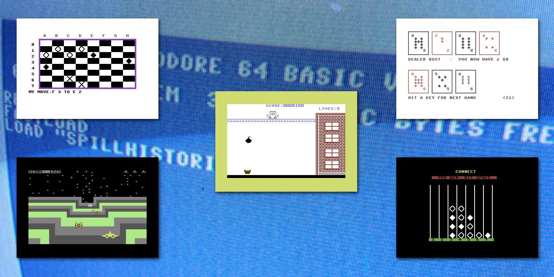 Commodore 64-skjerm med bilder foran!