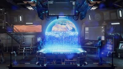 I oversiktsrommet der det holografiske verdenskartet står.
