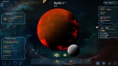 Du får gradvis tilgang på nye planeter etter som du forsker frem ulike teknologier. Disse kan du for eksempel ikke kolonisere i starten. Dette gjør at koloniseringskappløpet varer nesten hele spillet.