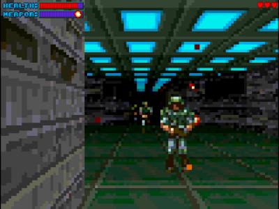 Gloom valgte en litt annen tilnærming, og minner mer om en avansert utgave av Wolfenstein 3D.