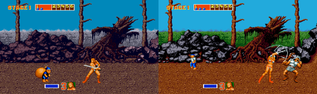 For å komme unna datidens restriksjoner på antall farger på skjermen samtidig, endres fargepaletten dynamisk når du når nye deler av spillmiljøet. Her er et godt eksempel fra Amiga-versjonen.