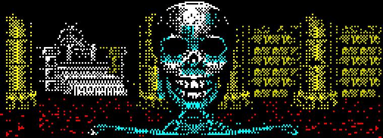 De ulike hjemmeformatene hadde svært forskjellige grafiske egenskaper. Dette bildet er hentet fra ZX Spectrum.