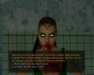 Her er spillfiguren en malkavian, noe som får resultater for hva han eller hun kan si.