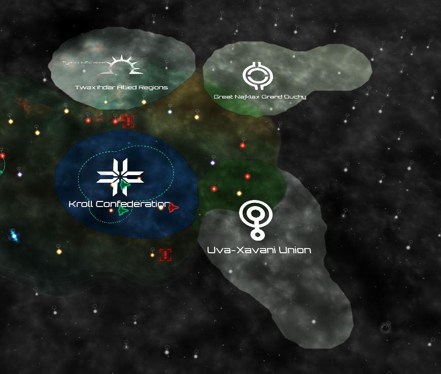 Kroll-imperiet og de tre nabostatene.