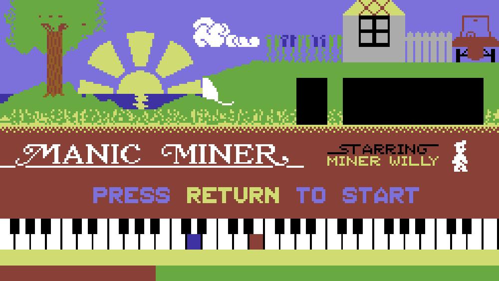 Spillets tittelskjerm. Her spilles An der schönen blauen Donau av Johann Strauss på pianoet. Du kjenner nok melodien fra filmen 2001: A Space Odyssey.