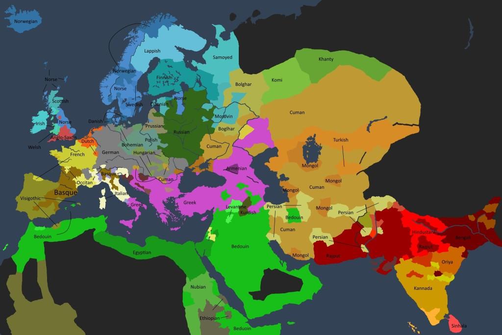 Det kulturelle kartet over den kjente verden i 1250.