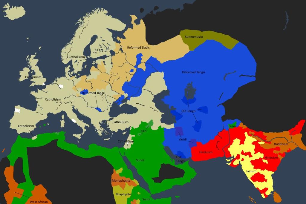 Det religiøse kartet over den kjente verden i 1250.