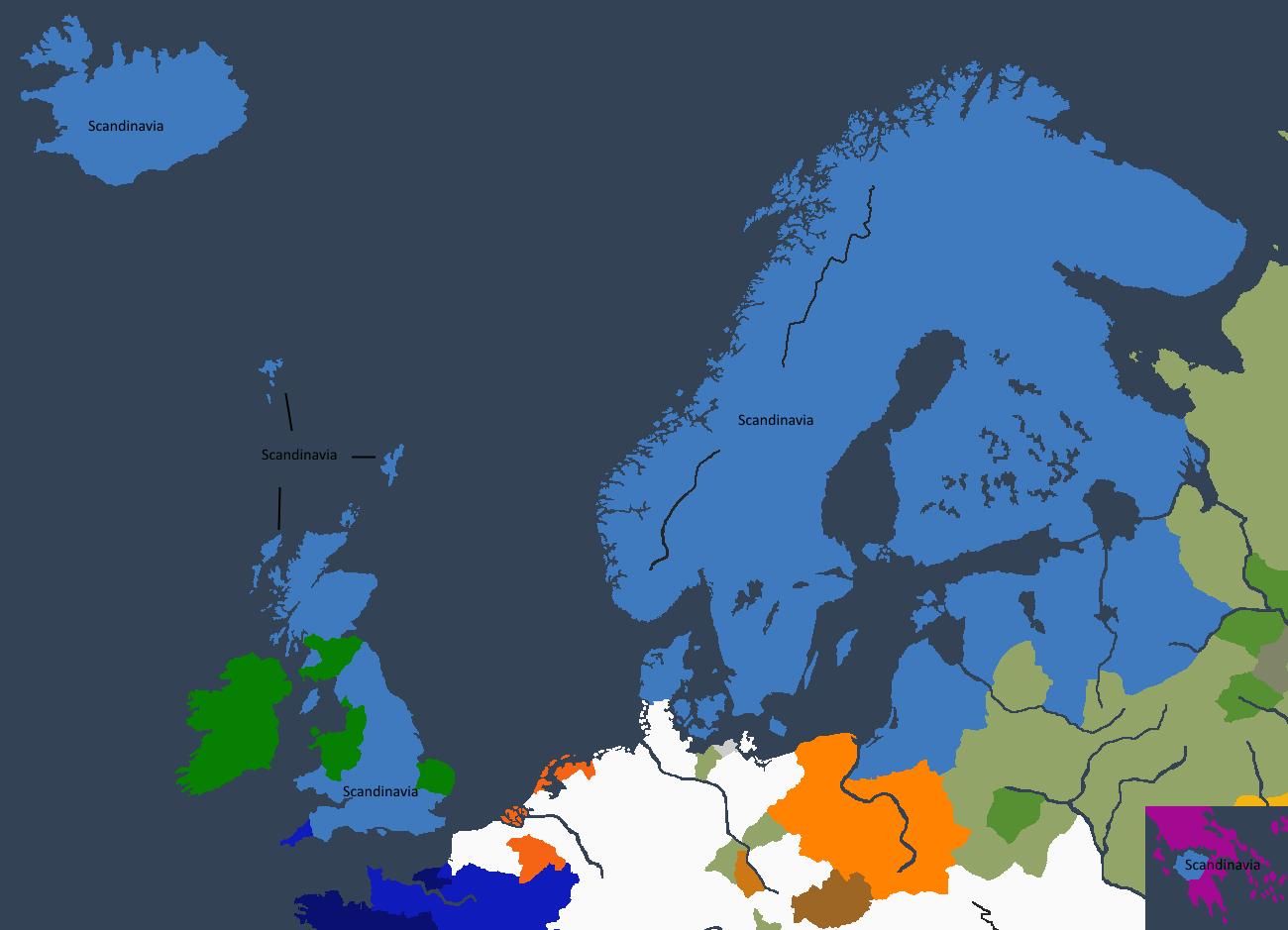 Det skandinskaviske imperiet ved Sigurdrr I «den Dristiges» død.