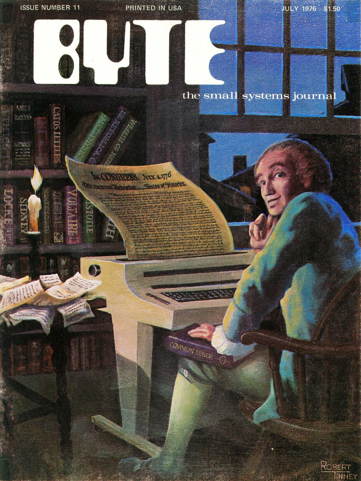 Juli 1976. Malt av Robert Tinney. En forside full av anakronismer. Artiklene i bladet inkluderer en guide som lærer deg å bygge ditt eget elektroniske grensesnitt for lasting av programmer fra kassett.