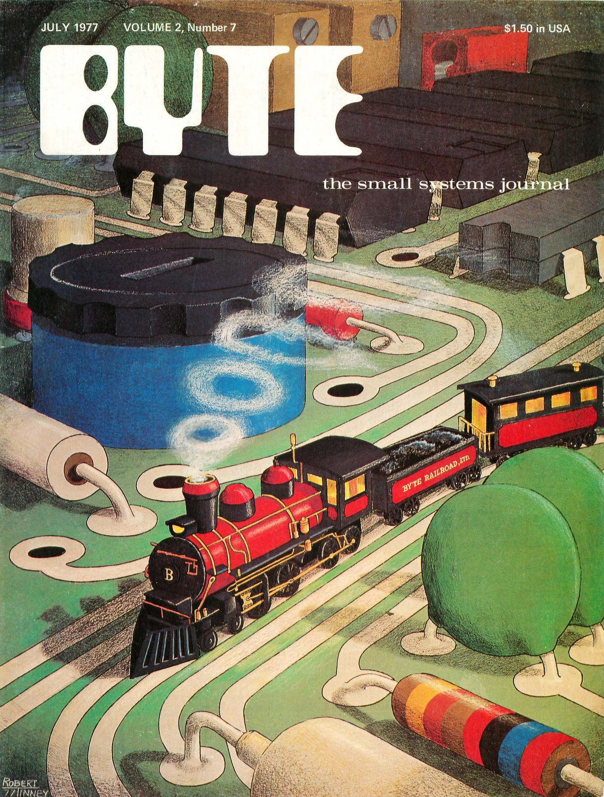 Juli 1977. Malt av Robert Tinney. Dette nummeret inkluderer blant annet en sak om hvordan man kan lage en datastyrt modelljernbane.