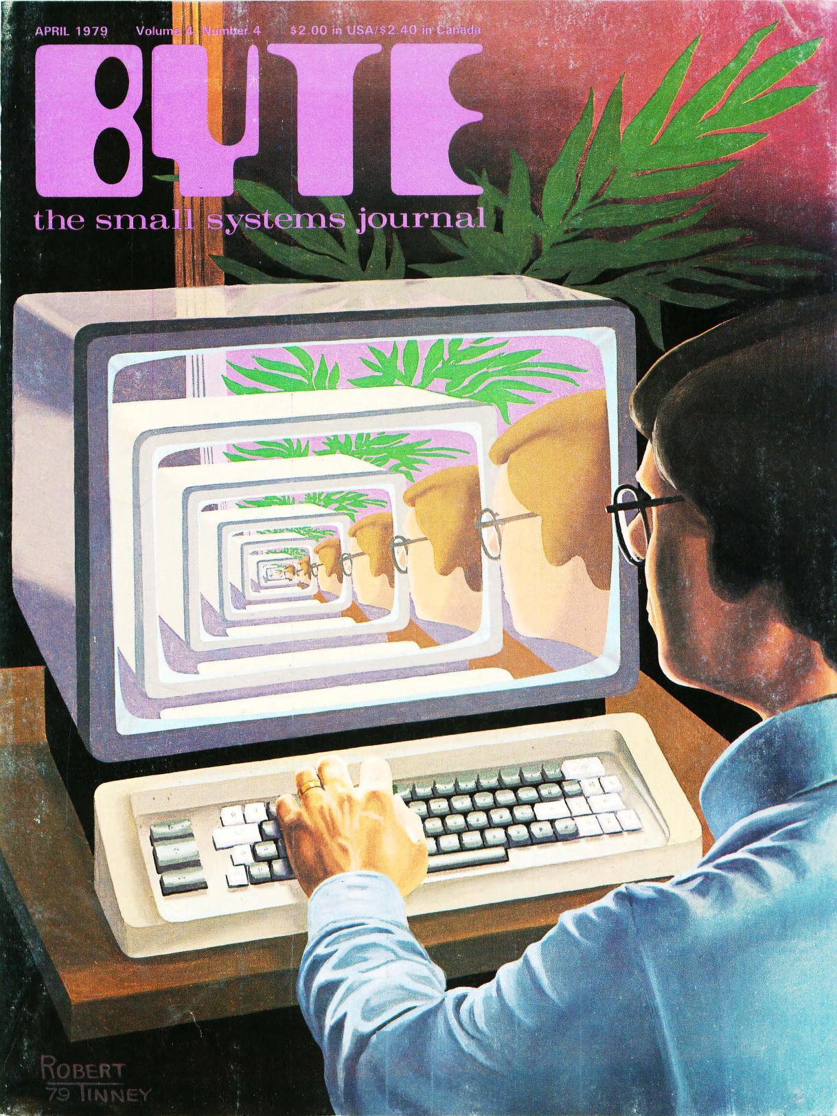 April 1979. Malt av Robert Tinney. Dette bladet inneholder artikler om programmer ment å simulere ulike aspekter av virkeligheten (fra gasser til galakser).
