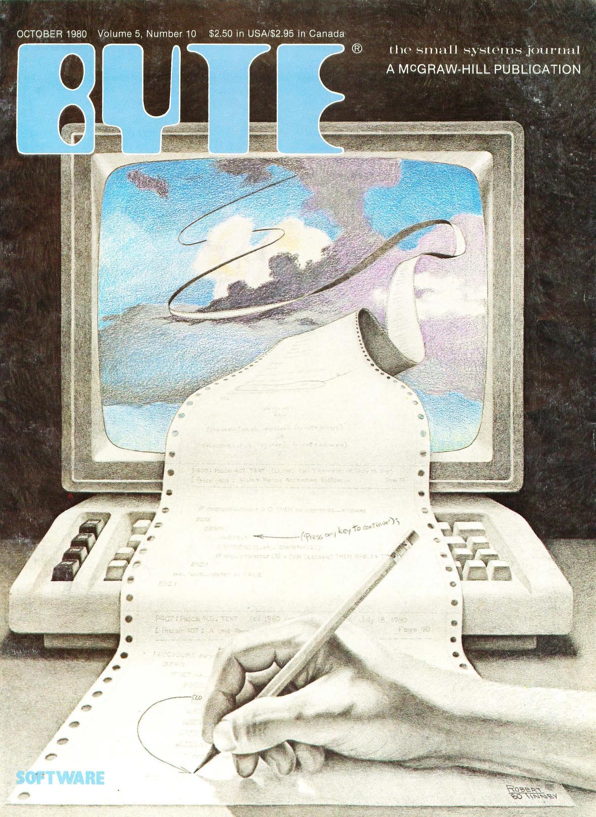 Oktober 1980. Tegnet av Robert Tinney. Her er temaet programmering, og coveret representerer hvordan man printet ut og debugget kode manuelt.