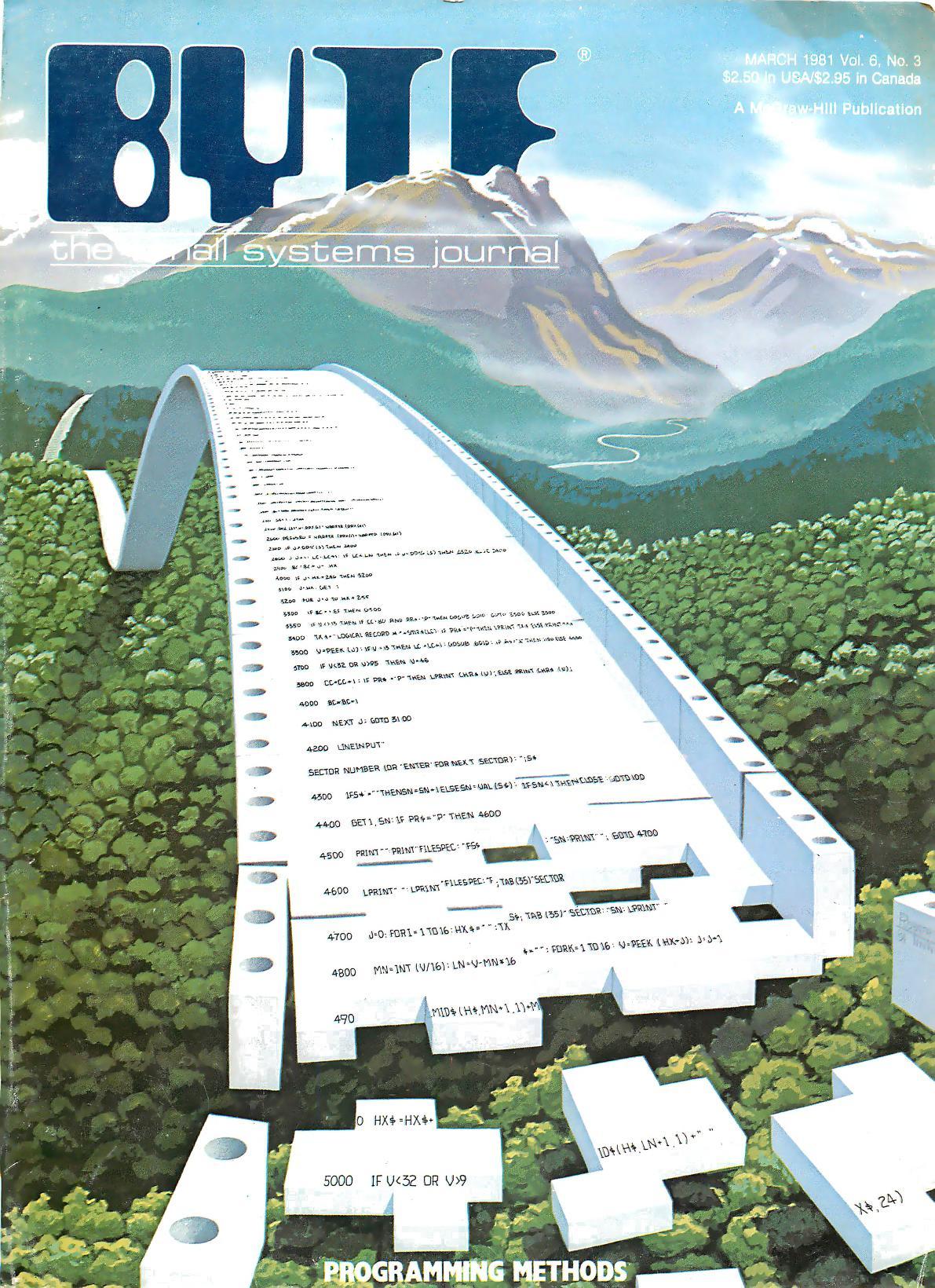 Mars 1981. Malt av Robert Tinney. Her vises programmering som et puslespill, og bladet har blant annet artikler om strukturert programmering.