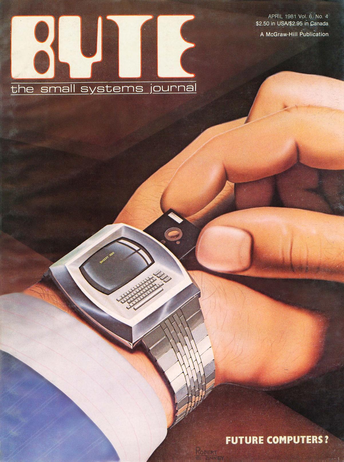 April 1981. Malt av Robert Tinney. Bladet spør om fremtidens datamaskiner kan bæres som en klokke. For noe sprøyt!