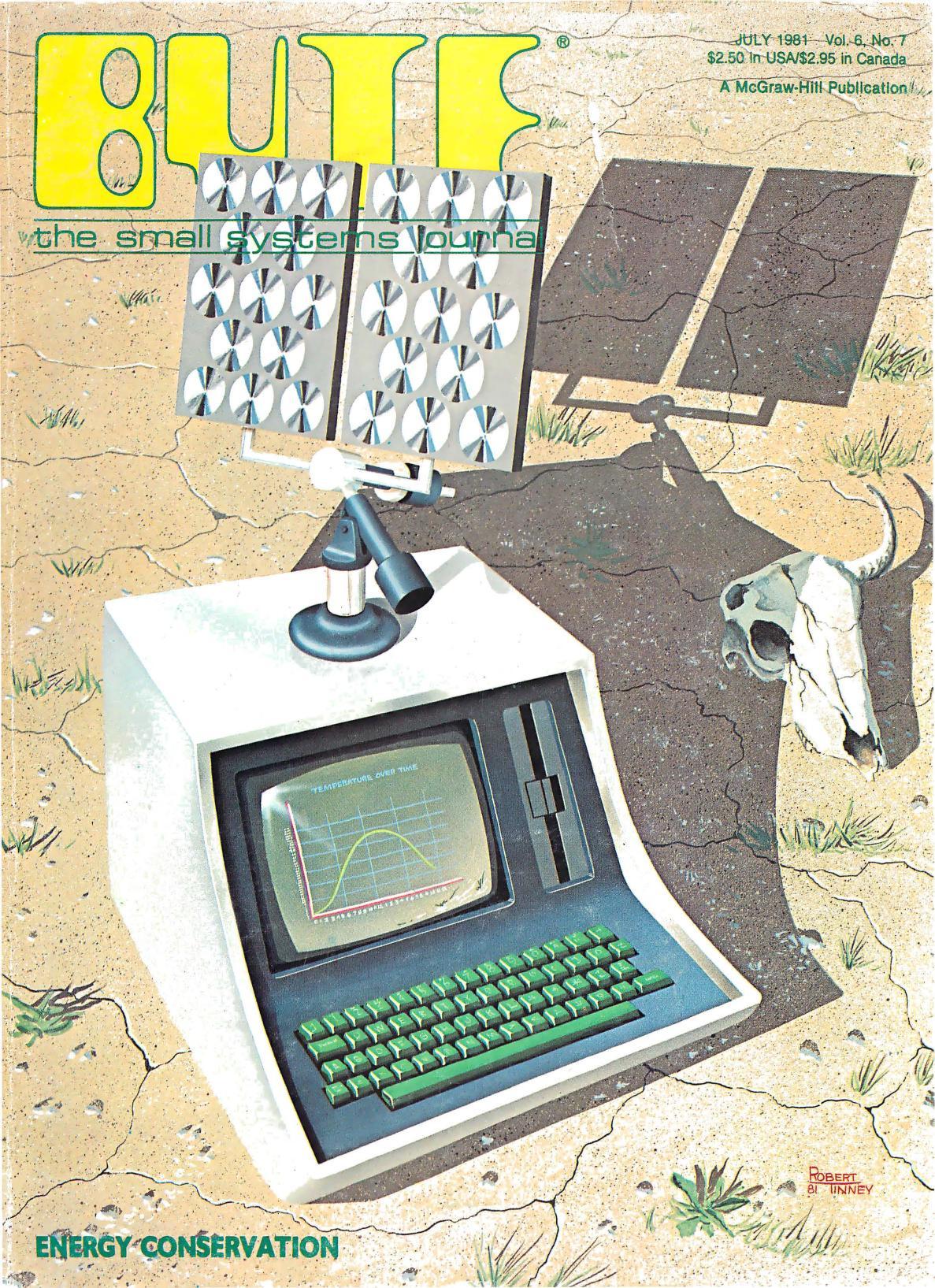 Juli 1981. Malt av Robert Tinney. I dette nummeret finner vi flere artikler om energisparing og -måling, samt solcellesystemer og -simuleringer.