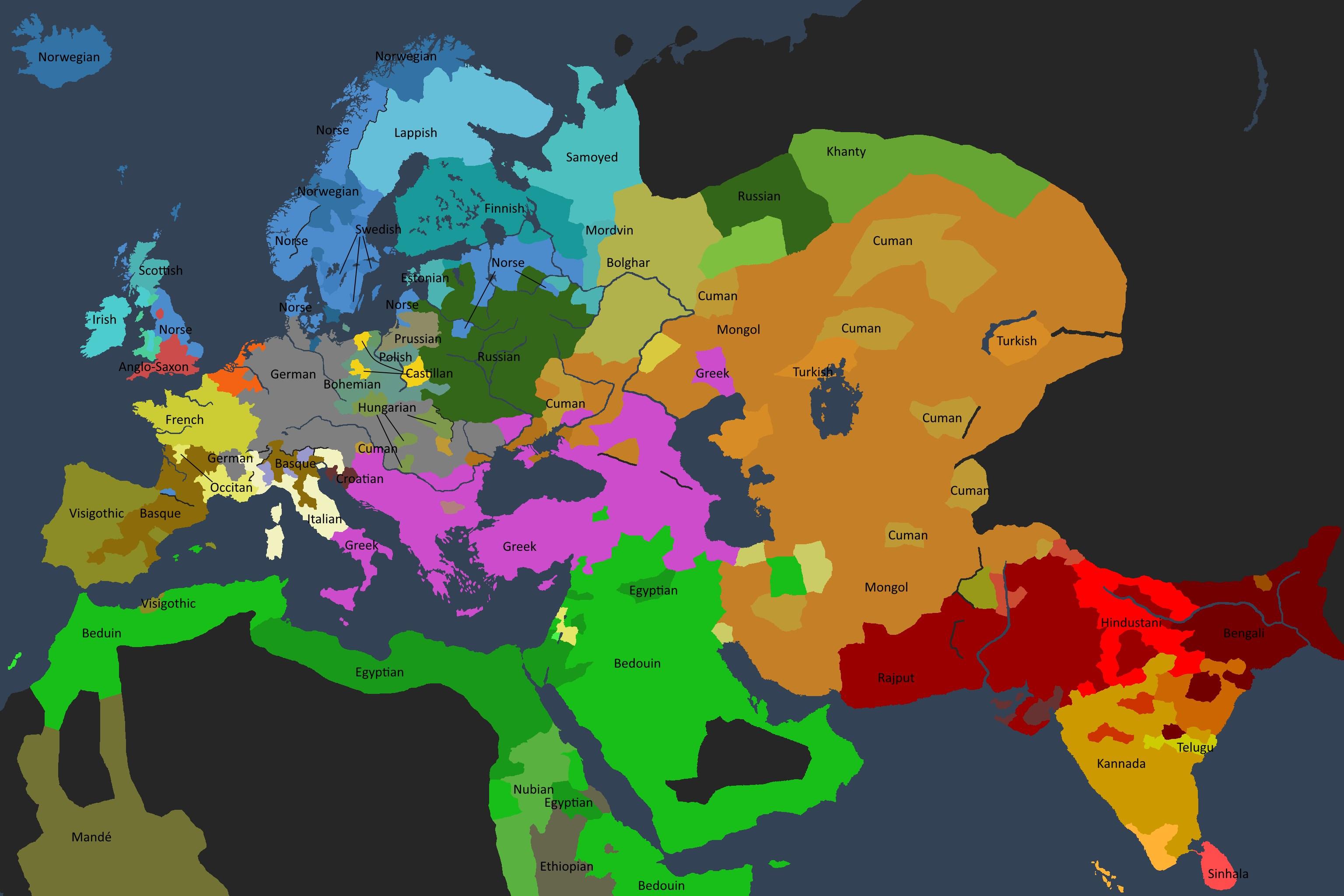 Det kulturelle kartet av den kjente verden i 1350.