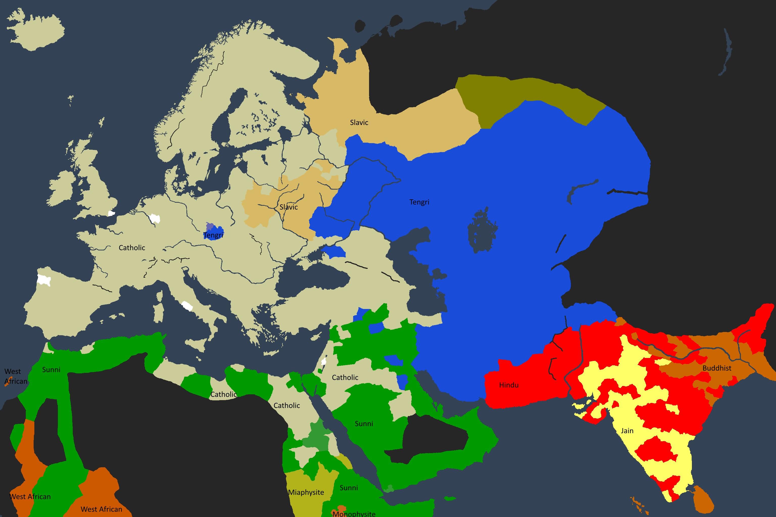 Det religiøse kartet av den kjente verden i 1350.