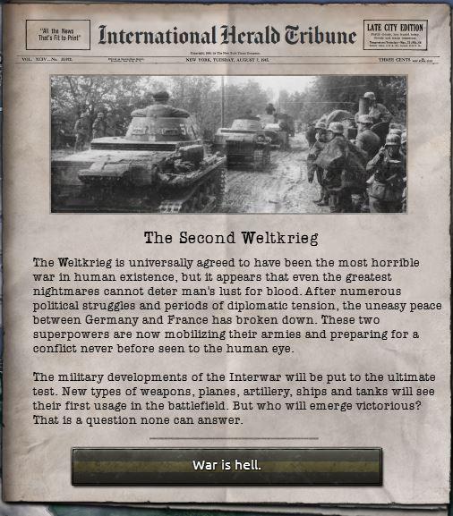 Weltkrieg, som tyskerne kaller det, er i gang igjen.