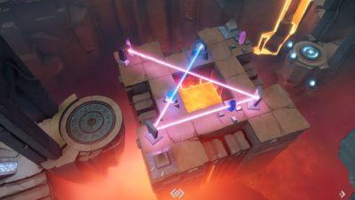 Her må jeg nok bruke teleporterne, som er de små pyramidene.