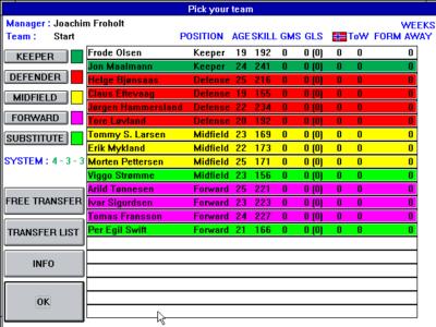 Nostalgi på flere måter. Sorry Frode Olsen, jeg la inn en reservekeeper og spillet gjorde ham bedre enn deg.
