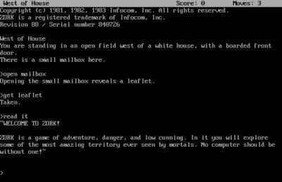Infocom-spillet Zork.
