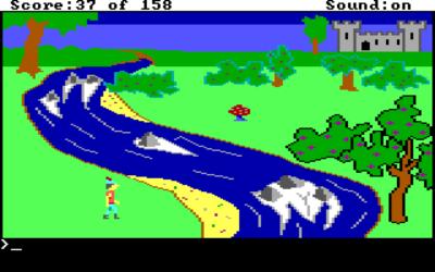 Oppløsningen er kanskje lav, men grafikken er sjarmerende. Nå... hvordan skal denne elva krysses?