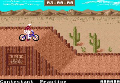 BMX på Amiga. Mange av versjonene sliter litt med denne øvelsen.