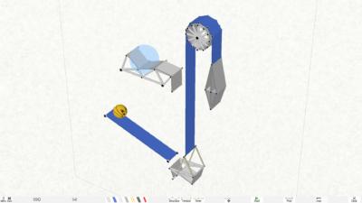 Målet er å få beltedyret (ballen) opp i det blå området. I dette tilfellet ved hjelp av en heis.