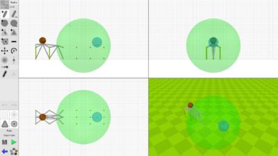 Den røde ballen skal bort til det blå området, og du kan bygge innenfor den grønne kula.