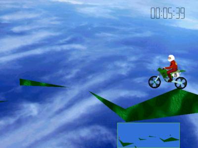 Tyngdekraften virker bare på motorsykkelen, ikke på «bakken».