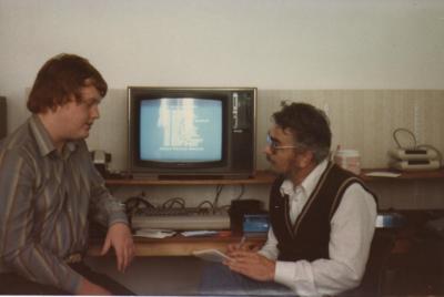 Tim Gilberts og Steinar Hesthagen, i oktober 1984.