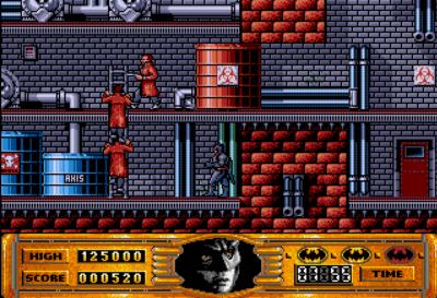 Det første nivået i Batman: The Movie på Amiga.
