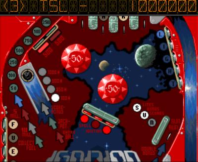 Pinball Dreams hadde skrollende brett. Her er litt av Ignition-brettet.