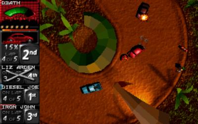 Death Rally kombinerer 2D og 3D på en effektiv måte. Bilde: Mobygames.