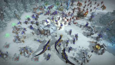 Det ser ut som dinosaurene erstatter stridsvogner og slikt i dette spillet.