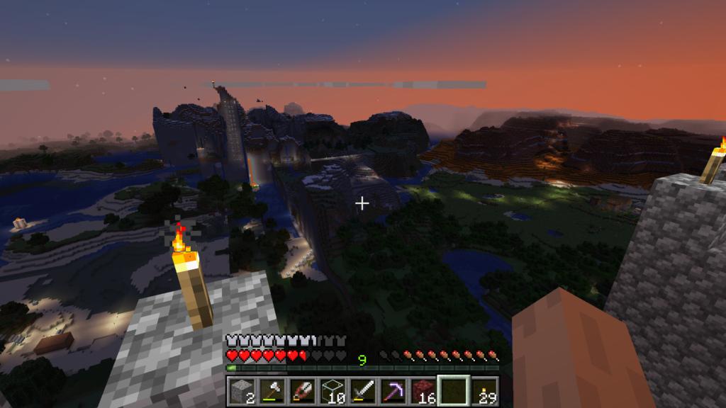 Veldig rotete terreng i grenselandet mellom miljøer generert i to eller flere versjoner av spillet. Jeg brukte anledningen til å lage en slags skyskraper uthult i det ene fjellet.