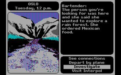 Den første PC-versjonen brukte CGA-grafikk.