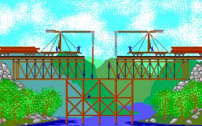 Amiga-versjonen har flere farger enn PC-versjonen, men den har til gjengjeld noen søte animasjoner når man bygger broer.