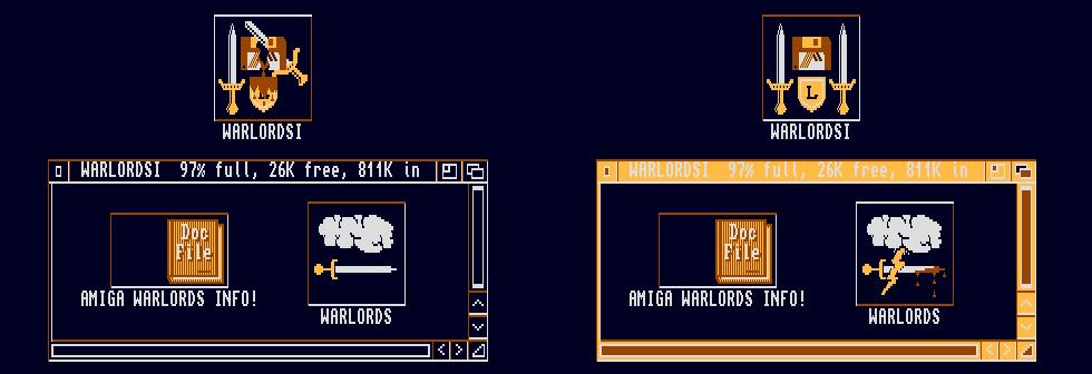 Blodige ikoner på Amiga-versjonen.