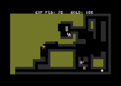 Utforsk datagenererte grotter i Sword of Fargoal, her på Commodore 64.
